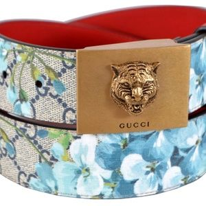 NWT GUCCI Blooms GG Canvas Leather Tiger Head Belt
